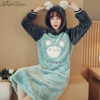 Flannel Nightgown Women Warm Winter Night Dress Hooded Animal Sleepwear Nightwear Nighty Ladies Home Wear Korean Night Gown 2018
