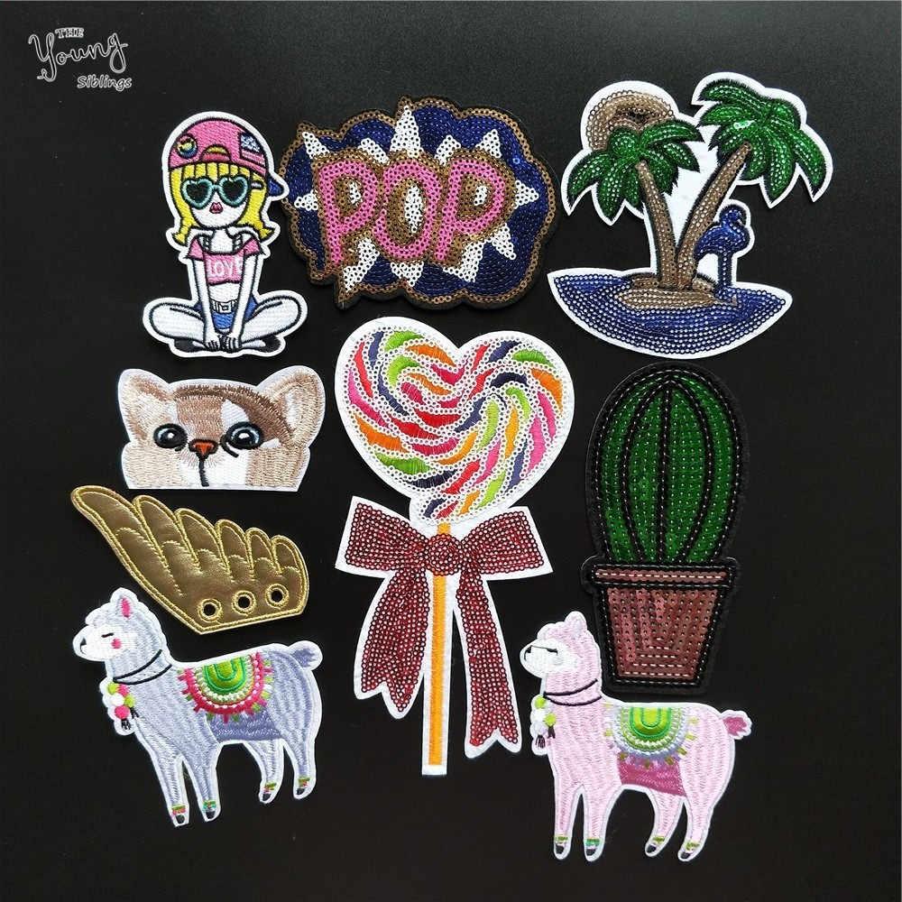 Desenhos animados roupas de costura lantejoulas ferro no remendo coração cactus bordado remendos para a menina vestuário adesivos emblemas diy acessórios