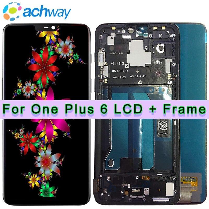 Oneplus 6 LCD Screen Display Toque Assembléia Painel Original Testados Um a Um além de 6 Display LCD Digitador Display + Quadro OnePlus 6 LCD