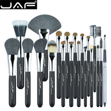 JAF Brand 20pcs Professional Brush for Makeup High Quality Natural Hair Cosmetic Set Eye Lash  Blush Powder Large Fan Brushes