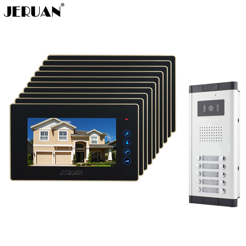 JERUAN Brand New Apartment Intercom 7`` Touch key LCD Video Door Phone intercom System+10 monitors+ 700 TVL Camera for 10 houses new apartment doorbell intercom 7 lcd touch key video door phone intercom system 1camera 10 monitors for 10 house free shipping