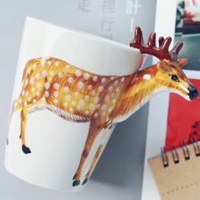 3D Lovely animals Stereo Animal Handpainted Ceramic unique Water Cup Mug home kitchen decoration coffee cup gift
