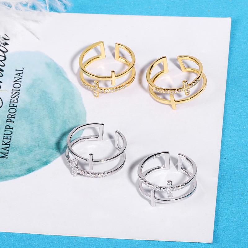 2021 korean style  Tibetan sliver double cross finger rings gold wide big jesus christianity zircon custom engagement rings 2