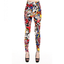 Женские леггинсы с высокой талией, Мультяшные комические брюки с красивым принтом, мягкие женские повседневные эластичные штаны