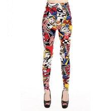 Femmes Leggings taille haute bande dessinée bande dessinée beauté imprimer pantalon doux femme décontracté élastique pantalon