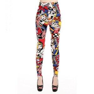 Image 1 - Legginsy damskie wysokiej talii komiks kreskówka spodnie z nadrukiem miękkie kobiece spodnie elastyczne na co dzień
