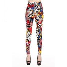 Mallas de cintura alta para mujer, pantalones con estampado de dibujos animados, pantalones elásticos informales suaves