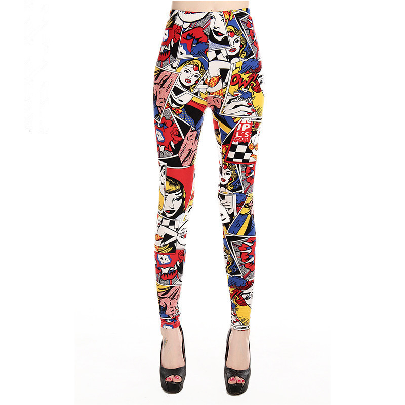 Women Leggings High Waist Cartoon Comic Beauty Print Trousers Soft Female Casual Elastic Pant