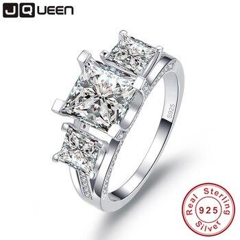 797ceff93b47 Jqueen 925 lujo del aniversario de boda de la plata esterlina anillo de  compromiso 2.5 CT joyería 3 Piedras anillos Mujer anillo de plata