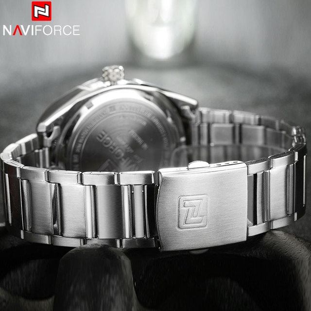 NAVIFORCE Brand Men Watches Business Quartz 30M Waterproof Watches Men's Stainless Steel Band Auto Date Wristwatches Relojes 4