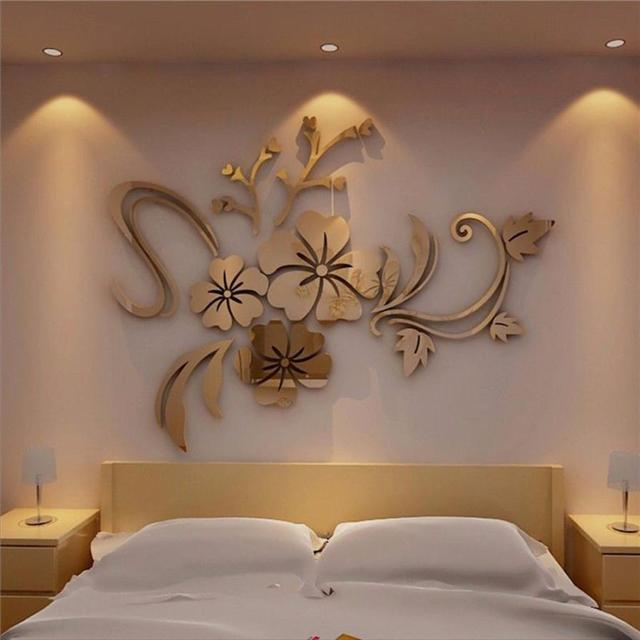 3D Mirror Floral Art Removable Wall Sticker Acrylic Mural Decal Home Room Decor acrylic mirrored decorative sticker 2018 hot 731