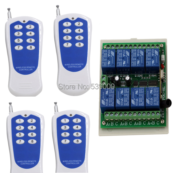 DC12V 8 CH Radio Controller RF Wireless Remote Control Switch System 315/433 Mhz Transmitter and Receiver ac 85v 110v 220v 250v 30a 2ch radio controller rf wireless remote control switch system 1xtransmitter and 3xreceiver sku 5273