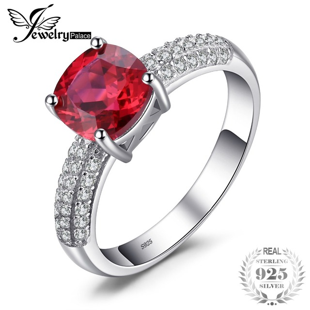 JewelryPalace Cushion 2.6ct Created Red Ruby Solitaire Engagement Ring 925 Sterl