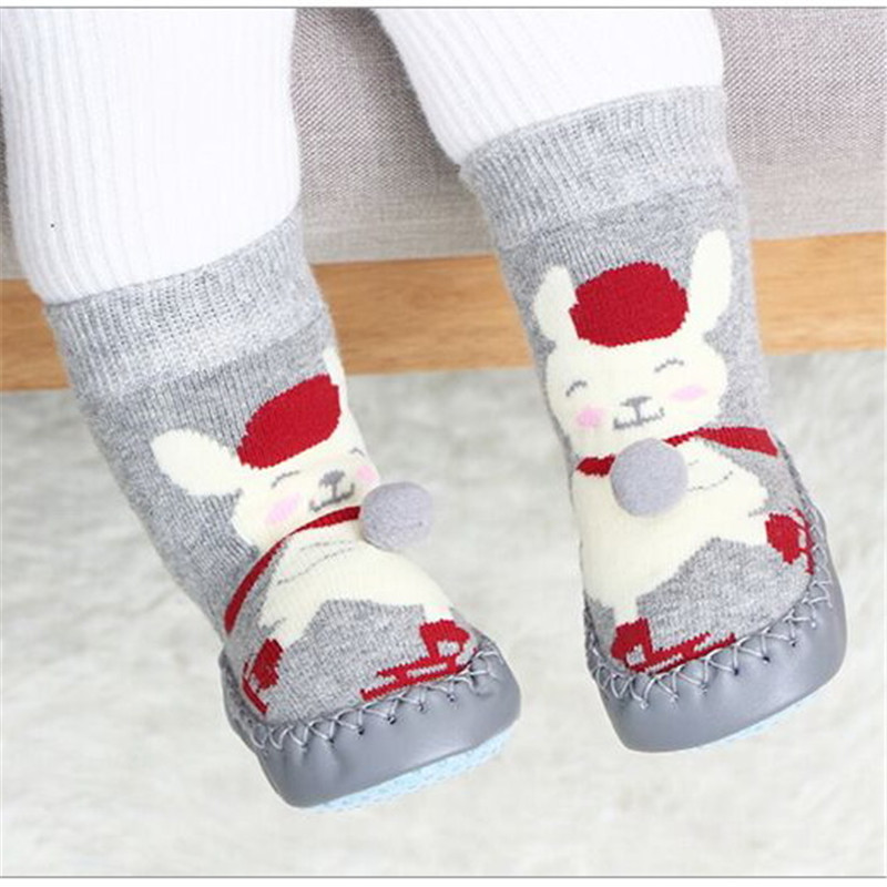 Fall Winter Thick Warm Baby Floor Sock Toddler Indoor Walker Shoes Infant Anti-slip Cotton Terry Hosiery Sock For Children