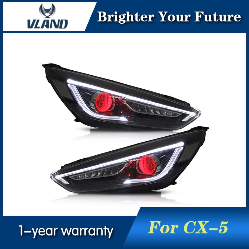 VLAND Car Styling Head Lamp For Ford focus 2015 2016 2017 LED Headlights with Red Demon eyes 2pcs purple blue red green led demon eyes for bixenon projector lens hella5 q5 2 5inch and 3 0inch headlight angel devil demon