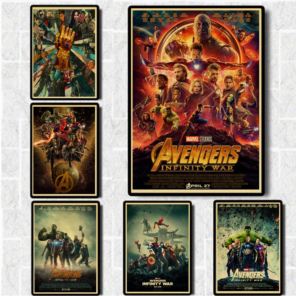 Vinatge Poster Avengers Infinity War Marvel Movie Poster Kraft Paper Retro Prints Home Room Decor Art Wall stickers image