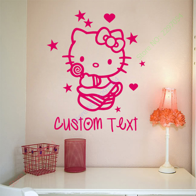 Custom made kartun anak anak ruang dekoratif stiker dinding kamar tidur stiker dinding art hello