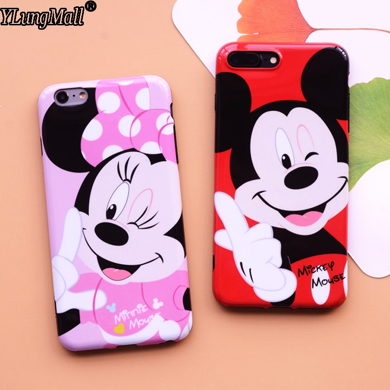 NEW Mirror IMD Case For iphone 7 Plus Case Soft Cute Cartoon Mickey Minnie Mouse Fundas Coque For Apple iPhone 6 6s 8 Plus Cover