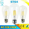 LED Lamp E27 ST64 E27 2W 4W 6W 8W dimmable Bombillas 220V LED Filament Bulb Edison Chandelier Lights Home Lighting 360 Degrees