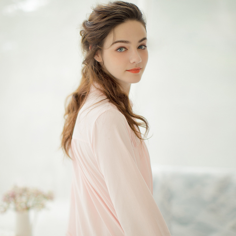 Pink,White Long Ankle-Length Nightgown Cotton Nightgown Soft Big Size Princess Royal Victorian Sleepwear Arab Lady Night Dress