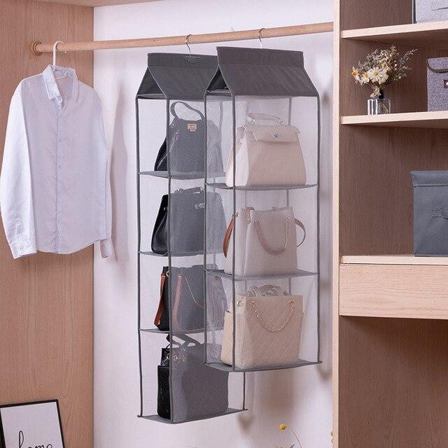 Wardrobe hanging organizer Tote bag hanging storage bag handbag organizer in the closet mesh purse handbag wardrobe organizer