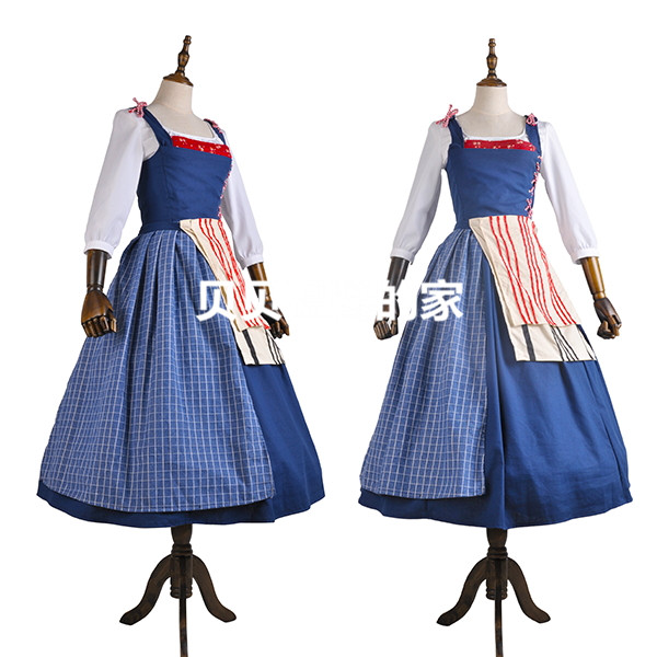 5484e2123e 2017 Movie Beauty and The Beast Cosplay Costume Belle Maid Dress Costume  Cosplay Dresses Women Adult Halloween Party
