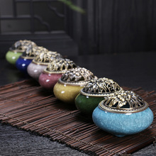Three Foot Small Incense Censer Ceramic Incense Sandalwood Incense Antique Ice Crack Buddha Incense Burner Peony Copper Cover