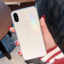 Tfshining Luxury Laser Aurora Glass Phone Case For iphone XR XS Max X 8 7 6 6s Plus Gradient Rainbow Diamond Bling Cover New