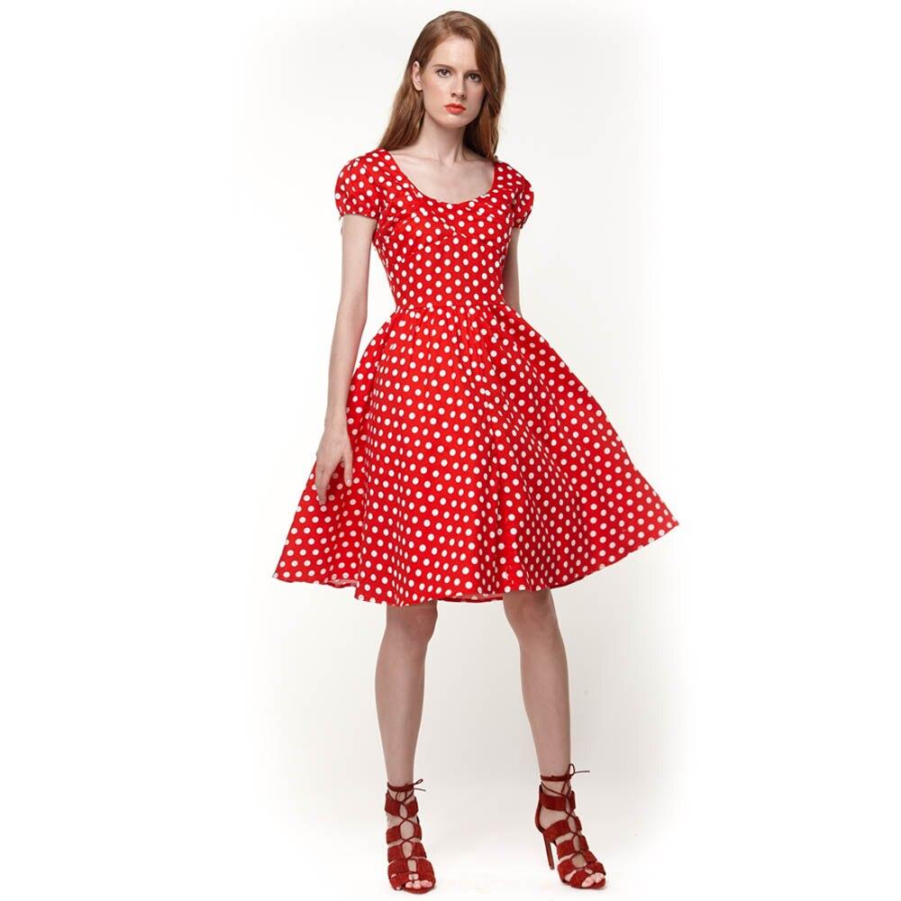 51ed90164390 Summer Style Short Sleeve Dress Women Retro Vintage Swing Dance Dress 50s  60s Print Robe Pinup Housewife Dresses