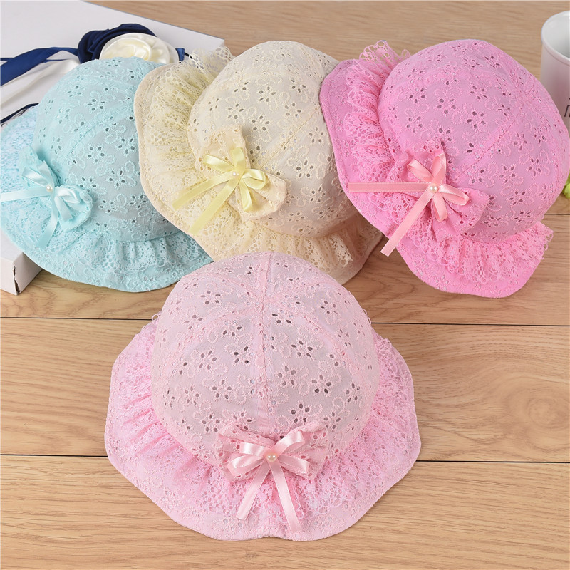 glittery sweet Cute Summer Baby Hat Lace Bowknot Princess Kids Girl Cap Hollow Toddler Sun Hats Beanie Clothing Accessories