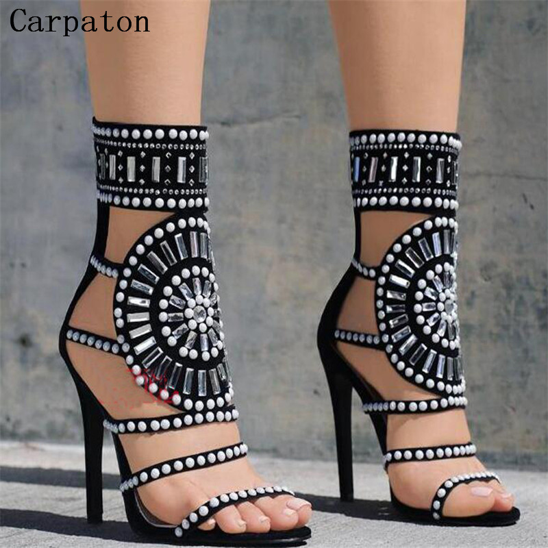 2017 Hot New Style Fashion Women Black Suede Strap Sandals thin high heel Ladies Pattern High Platform  Catwalk Shoes 2017 summer hot selling red balck suede leather t strap high heel sandals charming detailed studs sequined high heel sandals