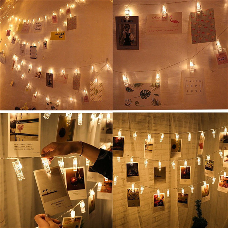 10 20 40 LED Garland Card Photo Clip Led String Fairy Lights Battery Operated Christmas Garlands Wedding Valentines Decoration10 20 40 LED Garland Card Photo Clip Led String Fairy Lights Battery Operated Christmas Garlands Wedding Valentines Decoration