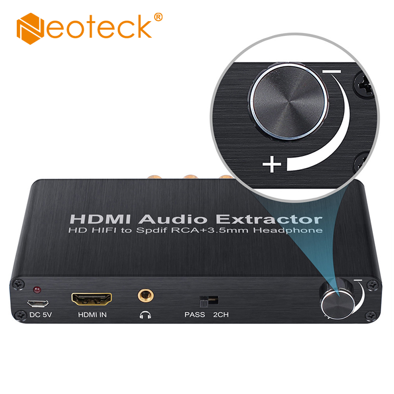 Neoteck HDMI Audio Extractor Support Dolby AC 3 DTS 4K 3D DAC With Volume Control HDMI