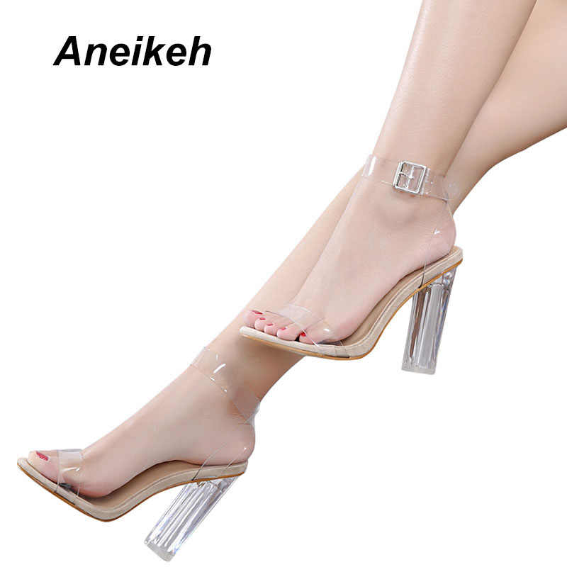 Aneikeh Large Size 40-42 Women Sandals Ankle Strap Perspex High Heels PVC Clear Crystal With High 12.5CM Shoes Apricot  D-092-1#