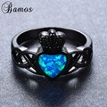 Bamos Cute Heart Style Blue Fire Opal Rings For Female Male Black Gold Filled Claddagh Ring Wedding Party Jewelry Bijoux RB1029