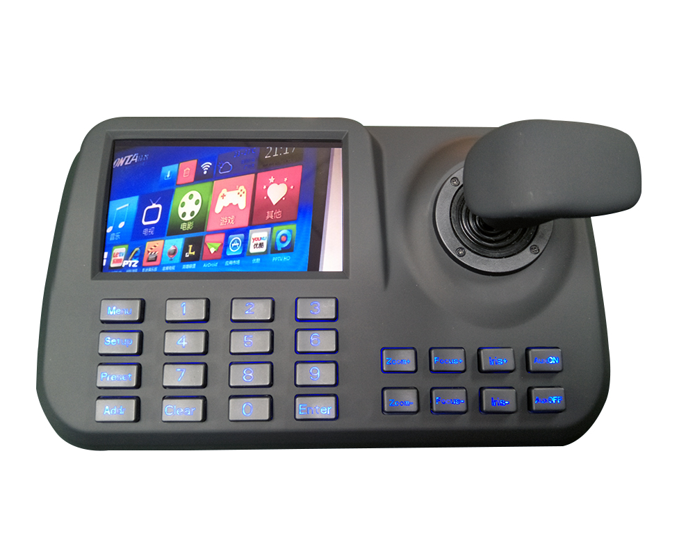 IP PTZ Camera Controller Network Keyboard ONVIF 3D Joystick 5Inch Colorful LED Display Plug And Play USB And HDMI Output