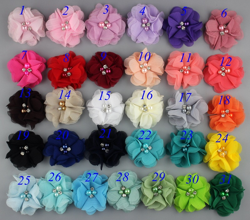 200pc lot 2 Wholesale Chiffon flower for newborn headband girls Flowers Headwear Hair Accessories flat back