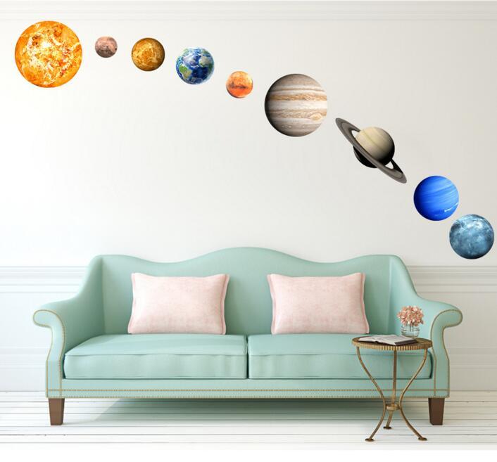 9 pièces de veilleuse papier peint de neuf planètes sticker mural de décoration de chambre d'enfants