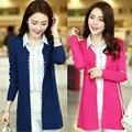 Las mujeres chaqueta de punto estilo de la moda de manga larga de punto cardigan suéteres de color caramelo para las mujeres envío gratis WL2329