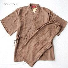 Мужские пижамы кимоно лето хлопок короткий рукав + 7 брюки с длинным рукавом пижамы мужчины гостиная Хан пара пижама