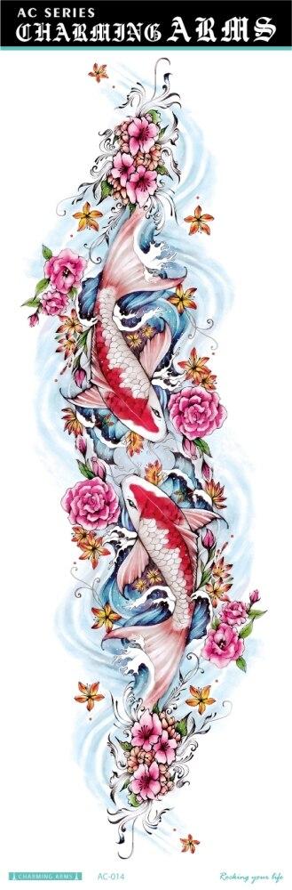 AC 002 Beauty Full Arm Extra Large Leg Temporary Tattoos Body Art Tattoo Stickers Full Arm fake Tatoo Flower 15 8x48cm in Temporary Tattoos from Beauty Health