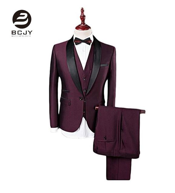d8b4db4c78f8d Bordowy szal Lapel garnitury ślubne 3 sztuk kurtka kamizelka spodnie krawat męskie  garnitury Groom smokingi Best
