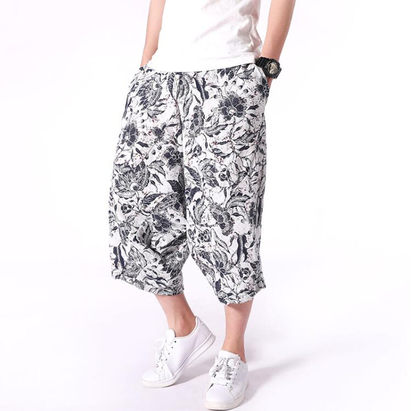 Men's New Harlan Shorts Summer Fashion Men's Beach Shorts Cotton And Linen Casual Mid Waist Men's Floral Shorts