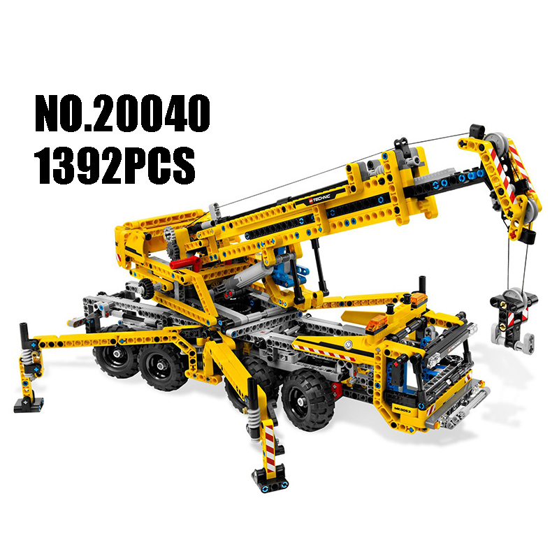 WAZ Compatible Legoe Technic 8053 Lepin 20040 1392pcs Creator Moving Crane Set building blocks Figure Bricks toys for children