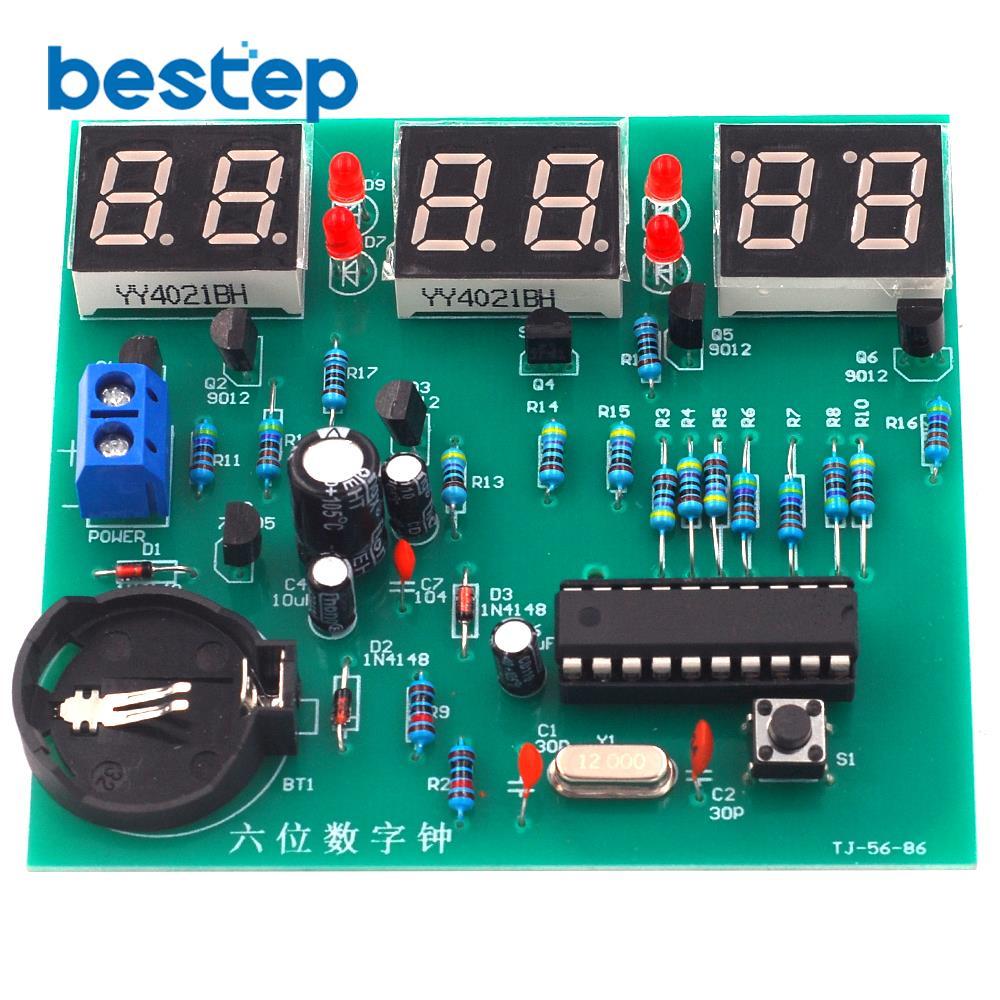 STC Six Digital Clock Kit Single Chip Microcomputer 6 Bit LED Clock Electronic Production