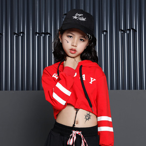 Image 3 - Bambini Hip Hop Felpe Abbigliamento per le Ragazze Ritagliata Felpa Magliette E Camicette Jogger Pantaloni Jazz Costumi di Ballo di Sala Da Ballo di Danza Vestiti di Usura