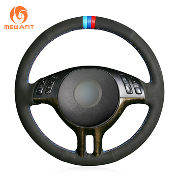 MEWANT Black Genuine Leather Suede Marker Car Steering Wheel Cover for BMW E46 318i 325i 330ci E39 X5 E53 Z3 E36/7 E36/8