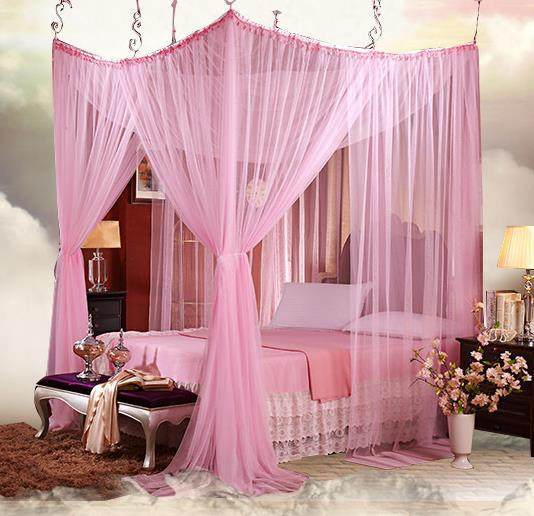 4-8 four corner Romantic Lace canopy Mosquito net bed moustiquaire king size curtains red Pink puple Palace rede mosquito net & Online Shop 4-8 four corner Romantic Lace canopy Mosquito net bed ...