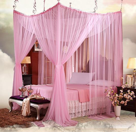 4 8 Vier Ecke Romantische Spitze Baldachin Moskitonetz Bett Moustiquaire  König Größe Vorhänge Rot Rosa