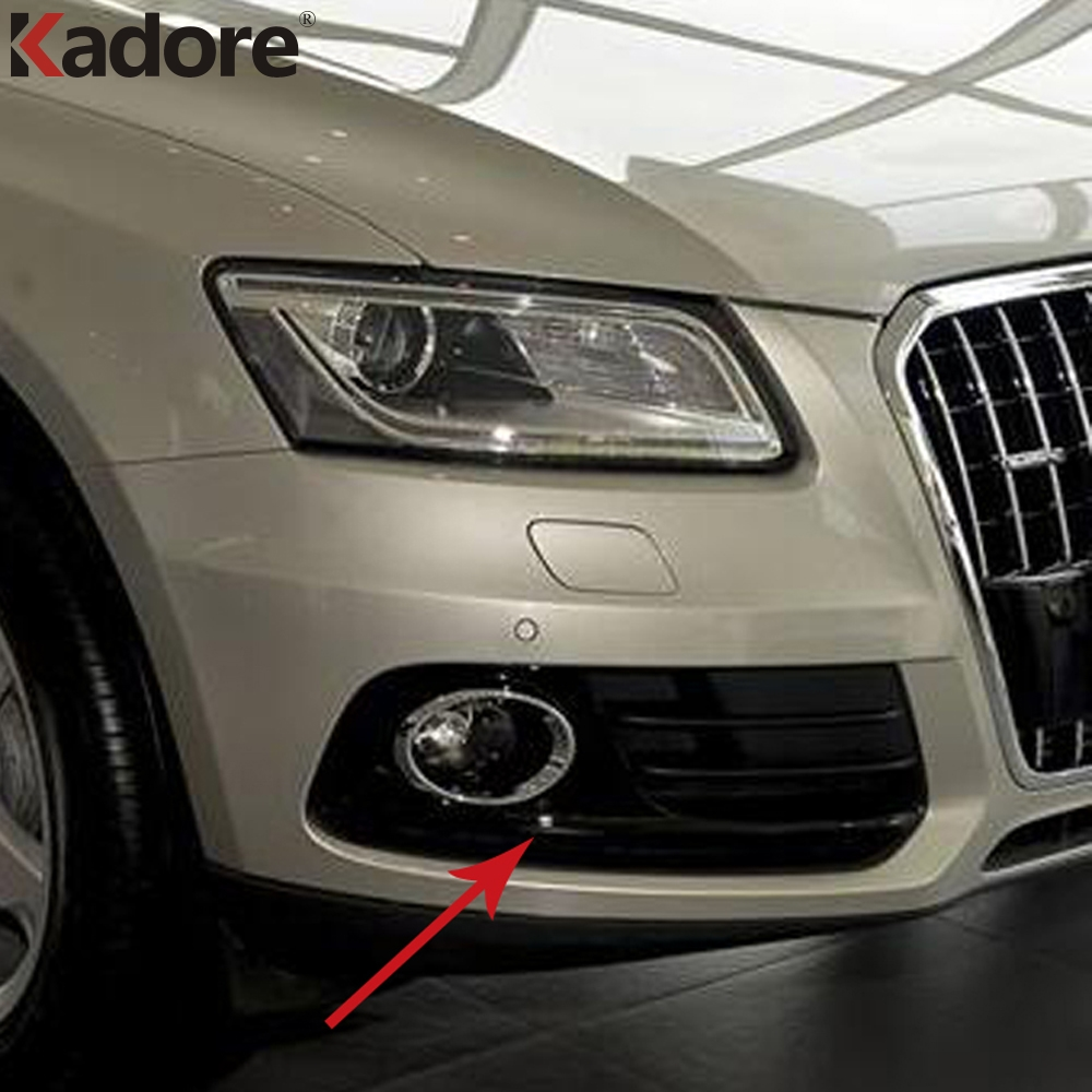 For Q5 2013 2014 2015 2016 Front Lower Bumper Grille Fog Light Grill Cover Racing Grills Sticker 2pcs ABS Auto Accessories